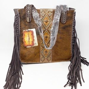 Montana West Trinity Ranch Hair-On Cowhide Tote